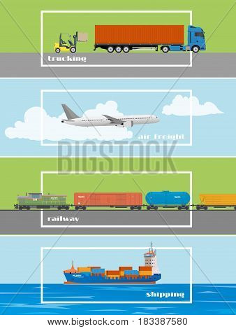 Set of transportation banners. Logistics and delivery concept vector illustration. Air trucks railway and ship transport.