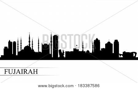 Fujairah City Skyline Silhouette Background