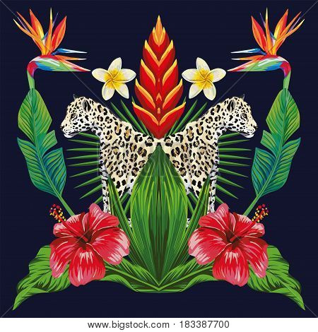 Composition of tropical plants flowers and wild animal leopard in a mirror reflection. Natural pattern of wallpaper on a dark blue background