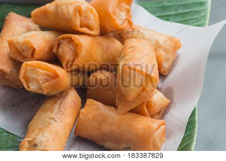 Fried spring roll on street in Thailand street food