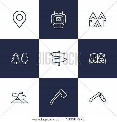 Set Of 9 Outdoor Outline Icons Set.Collection Of Gps, Forest, Guidepost And Other Elements.