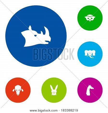 Set Of 6 Brute Icons Set.Collection Of Rhinoceros, Trunked Animal, Night Fowl And Other Elements.
