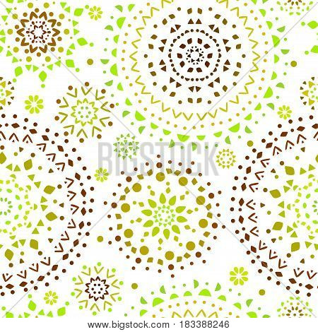 Beautiful seamless pattern with ethnic circle. Vector illustration
