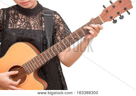 A Woman Playing Acoustic Guitar By Chord C On Isolated White Background