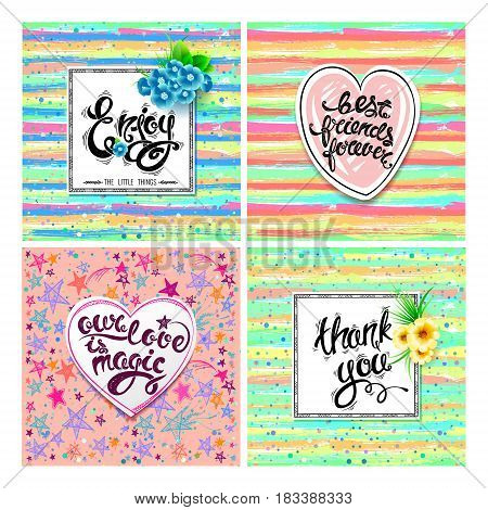 Enjoy, best friends forever, our love is magic, thank you. Vector set of greeting cards, hand drawn letters, motivation EPS10