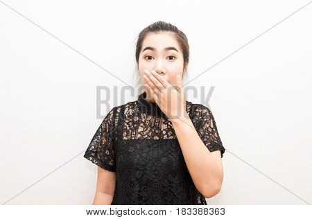 Asia Woman Covering Mouth With Her Hand Look Like Surprise
