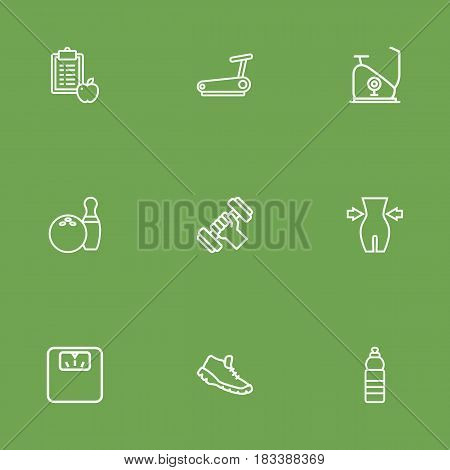 Set Of 9 Fitness Outline Icons Set.Collection Of Water Bottle, Bowling, Scales And Other Elements.