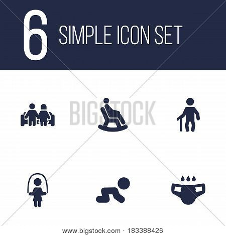 Set Of 6 People Icons Set.Collection Of Grandpa, Girl, Rocking Chair Elements.