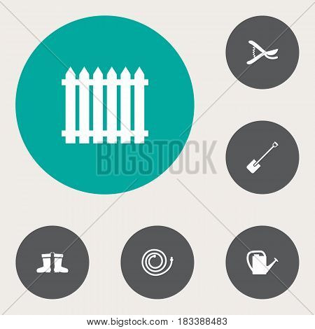 Set Of 6 Household Icons Set.Collection Of Shovel, Pruner, Rubber Boots And Other Elements.
