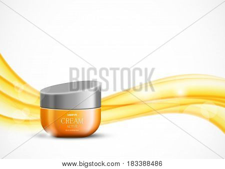 Skin moisturizer cosmetic ads template with orange realistic container on wavy bright soft dynamic smooth lines background. Vector illustration