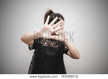 Woman Put Her Hand Up For Covering And Protect Her Face From Light, Dramatic Style