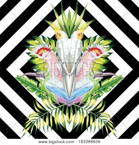 Seamless vector composition of tropical birds and green foliage in a reflected style on a black and white geometric background