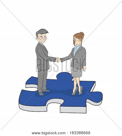 The business man and woman are standing on a piece of the puzzle shaking hands with each other. Business concept. teamwork. vector illustration.