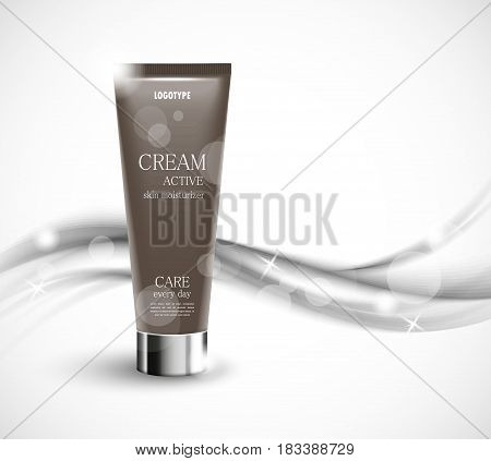 Skin moisturizer cosmetic design template with gray realistic bottle on wavy gray soft dynamic lines background. Vector illustration