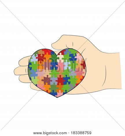 In the hand the heart is a puzzle. A symbol of autism. vector illustration.