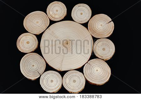 Circular Pattern From Transverse Wooden Saw Cuts On Black Background.