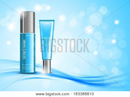 Skin moisturizer cosmetic ads template with blue realistic bottles on wavy soft bright curved blurred lines background. Vector illustration