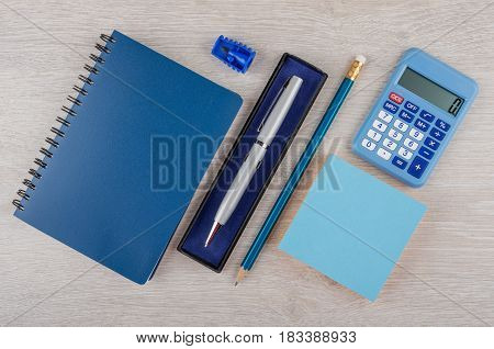 Ballpoint Pen In Box, Pencil, Notepad And Calculator