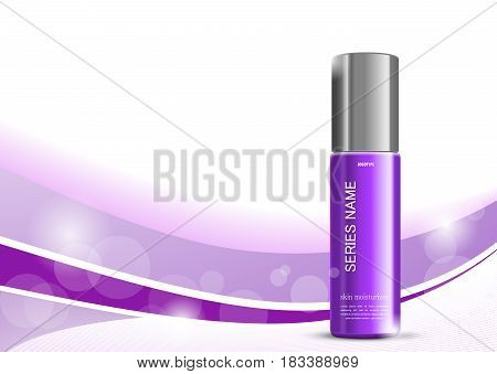 Skin moisturizer cosmetic design template with purple realistic bottle on wavy light dynamic lines background. Vector illustration