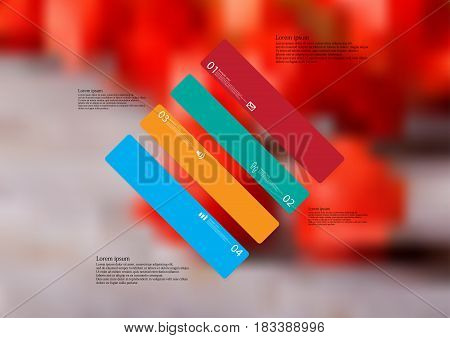 Illustration infographic template with motif of rhombus askew divided to four standalone color sections with simple sign number and sample text. Blurred photo is used as background.