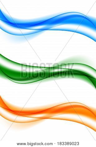 Abstract bright wavy curved lines set in blue orange green colors and soft elegant smooth dynamic style. Vector illustration