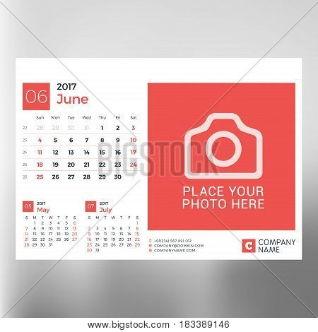 Calendar Planner Template For June 2017. Week Starts Sunday. Design Print Vector Template Isolated O