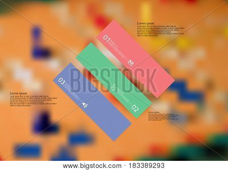 Illustration infographic template with motif of rhombus askew divided to three standalone color sections with simple sign number and sample text. Blurred photo is used as background.