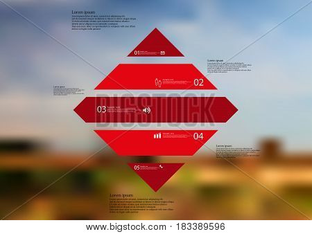 Illustration infographic template with motif of rhombus horizontally divided to five standalone red sections with simple sign number and sample text. Blurred photo is used as background.