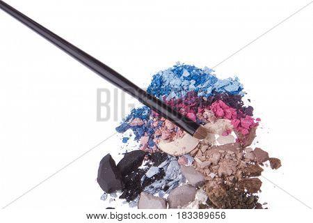 set of multicolor crushed eyeshadows isolated on white background