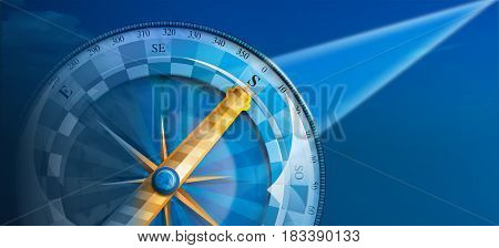 Blue compass with yellow arrow indicating direction south illuminated with ray of light on blue background