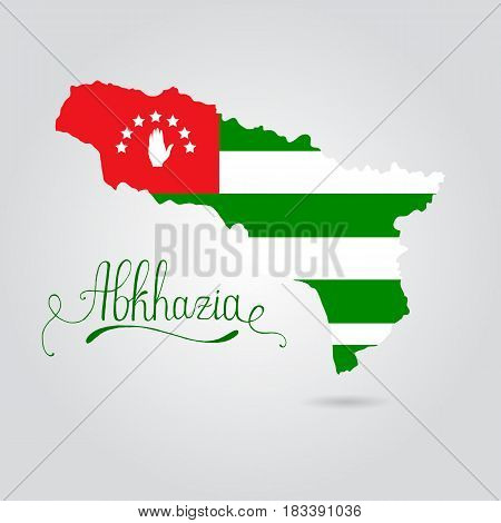 Map and flag of Abkhazia. Republic of Abkhazia vector on white background