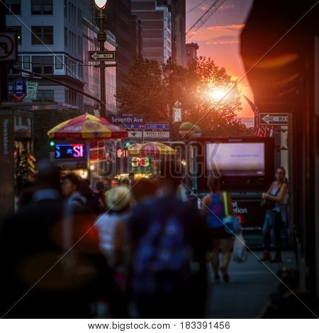Beautiful New York sunset on a crowded street