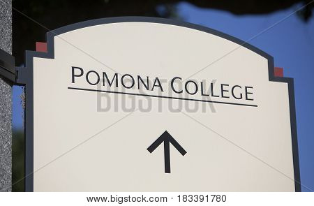 Claremont CA USA - April 14 2017: The sign for Pomona college a liberal arts college in southern California.