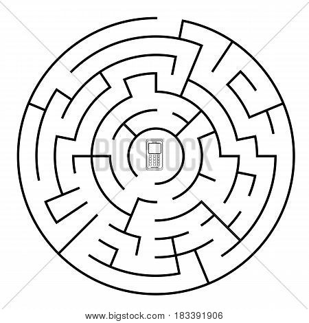 Labyrinth isolated from background. Vector illustration of EPS10. Round maze.