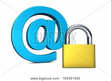 Cyber security and online digital safety concept with a padlock icon and at symbol 3D illustration on white background.