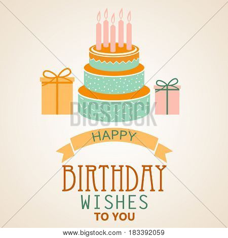 Birthday poster with cake and ribbon template vector eps 10