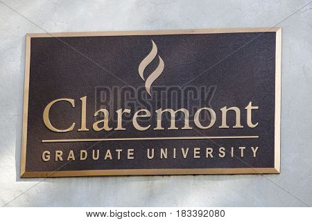 Claremont CA USA - April 14 2017: The sign for Claremont Graduate University a liberal arts college in southern California.