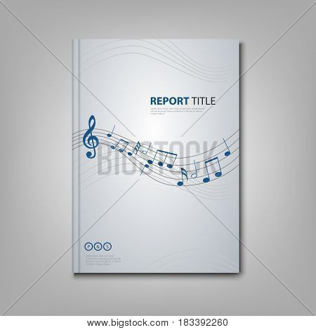 Brochures book or flyer with musical notes on front side vector eps 10