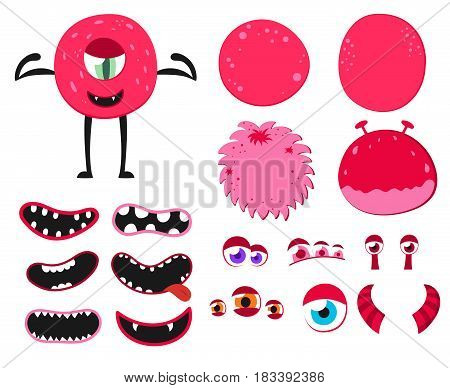 Cartoon funny monsters creation kit. Create your own monster set. Vector illustration