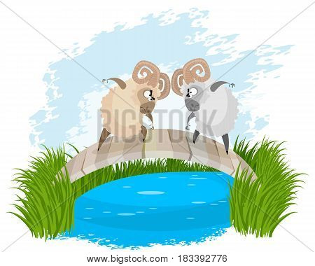 Vector illustration of a two rams on bridge