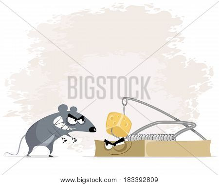 Vector illustration of a rat and mousetrap