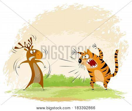 Vector illustration of a tiger snarls on elk