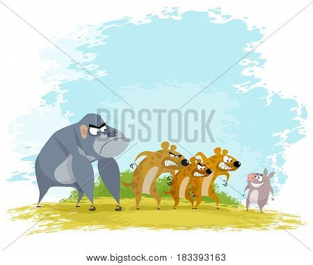 Vector illustration of a five funny aminals