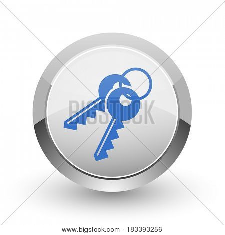 Keys chrome border web and smartphone apps design round glossy icon.