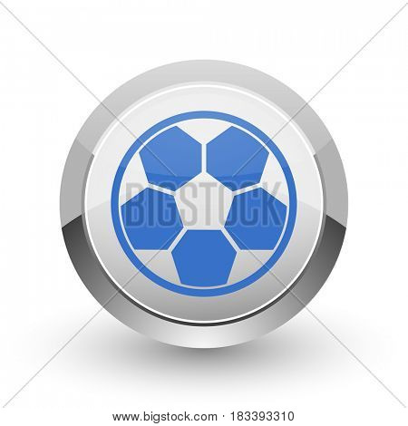 Soccer chrome border web and smartphone apps design round glossy icon.