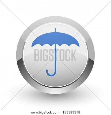 Umbrella chrome border web and smartphone apps design round glossy icon.