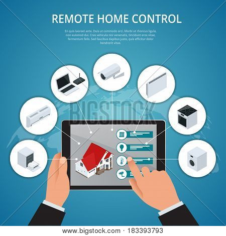 Smart House and internet of things concept. smartphone controls smart home like smart plug, fridge coffee maker washer microwave and music center flat icons. illustration.