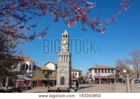 ANKARA, TURKEY - APRIL 02, 2017: The clock tower in Hamamonu District during spring. Recently renovated Hamamonu is the new tourist magnet in Ankara