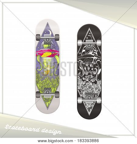 Design skateboard with the image of extraterrestrial guest stealing marijuana. Dark and light on a white background.