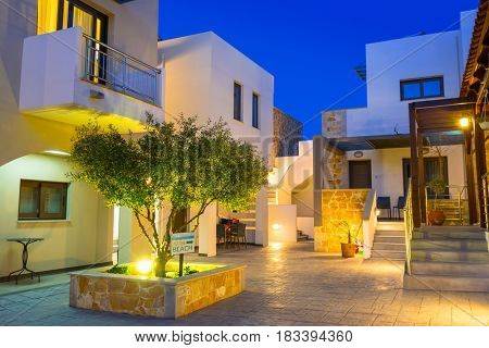 MALEME,GREECE - APRIL 6, 2017: Architecture of Ledra Maleme hotel in Maleme town on Crete, Greece. Ledra Maleme is traditional greek hotel with beautiful architecture in Chania region of Crete.